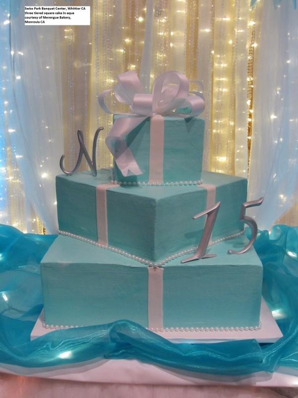 Beautiful Three Tiered Square Quinceanera Cake In Aqua
