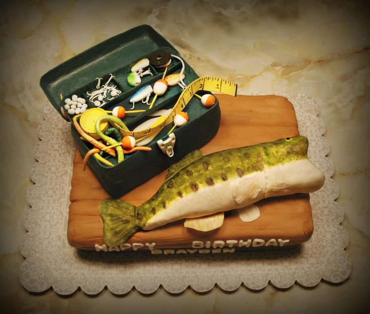 Bass Fish And Tackle Box Cake Fishing Party Pinterest
