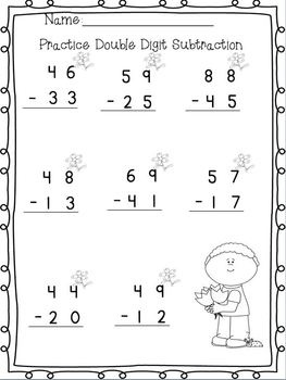 double digit adding amp subtracting w no regrouping spring printables