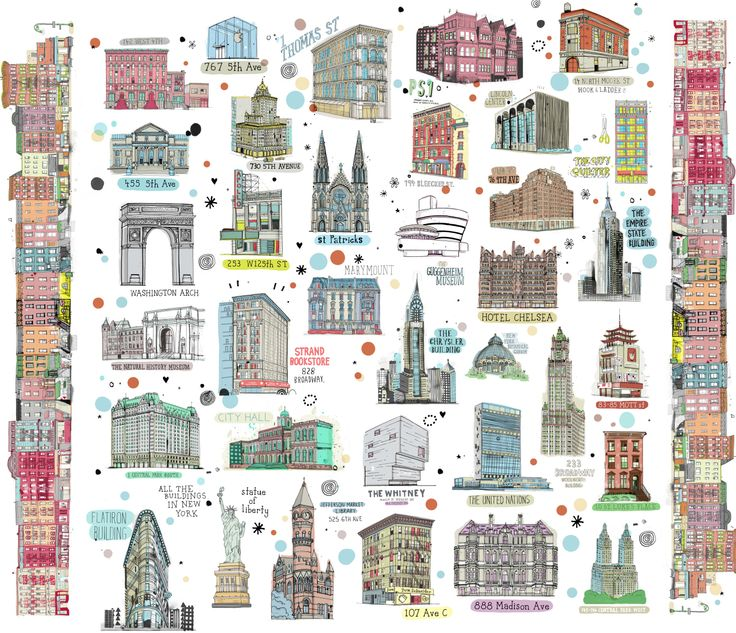 All the Buildings in New York fabric. Illustrations by
