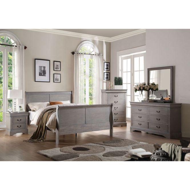 Acme Furniture Louis Philippe Iii 4 Piece Antique Grey Bedroom Set Twin Gray