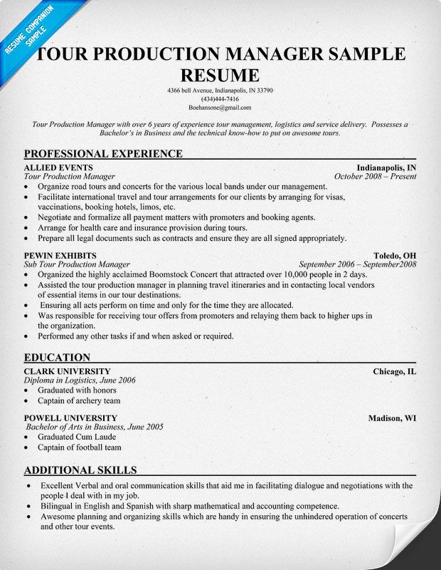 Tour Production Manager Resumecompanion Com Resume