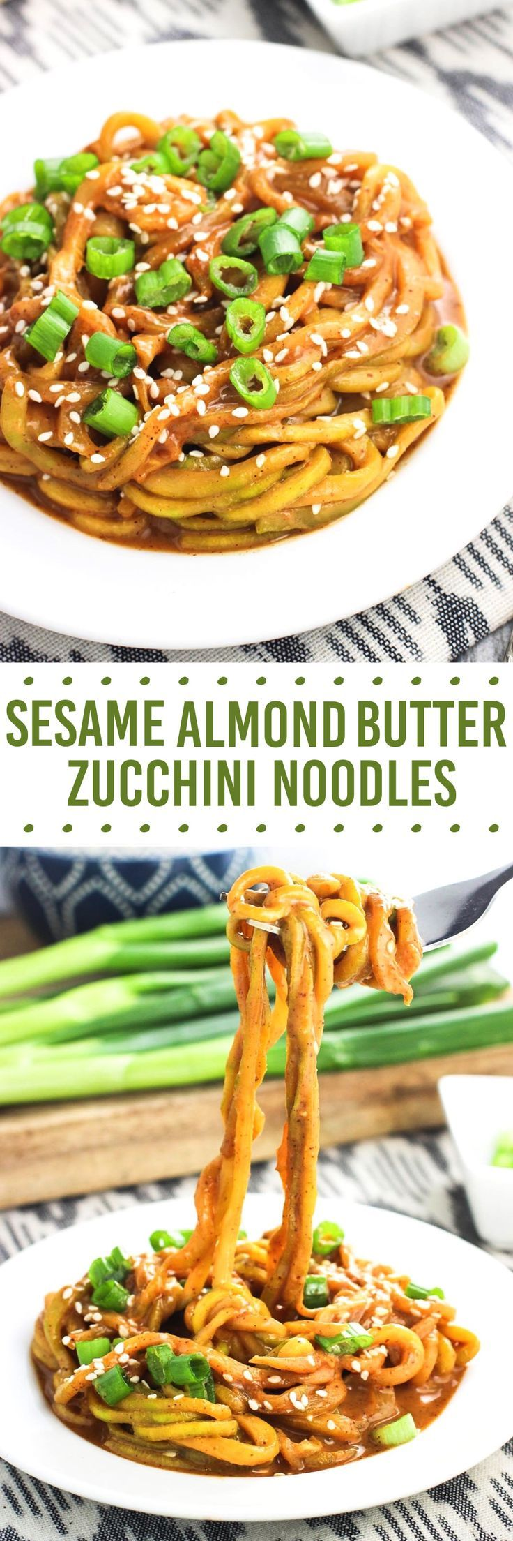 These sesame almond butter zucchini noodles make a healthy meal that takes about 20 minutes to make! The s