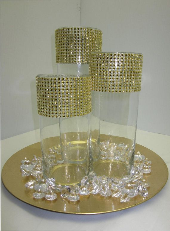 Set Of 3 Rhinestones In Gold Centerpieces RHINESTONES