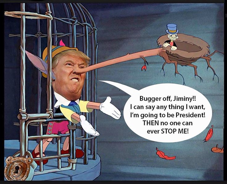 A Cartoon Featuring Trump As Pinocchio By Terry Gilliam