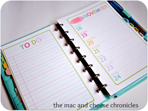 Free Planner Pages from Mac & Cheese chronicles.