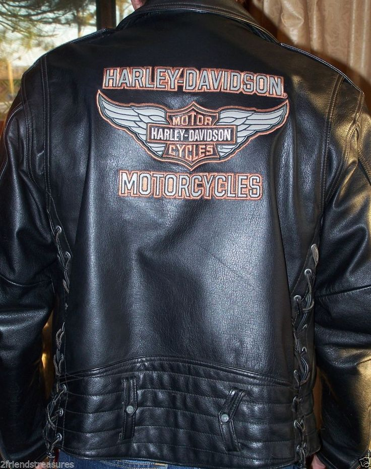 Harley Davidson Men Leather Jacket Medium Black An