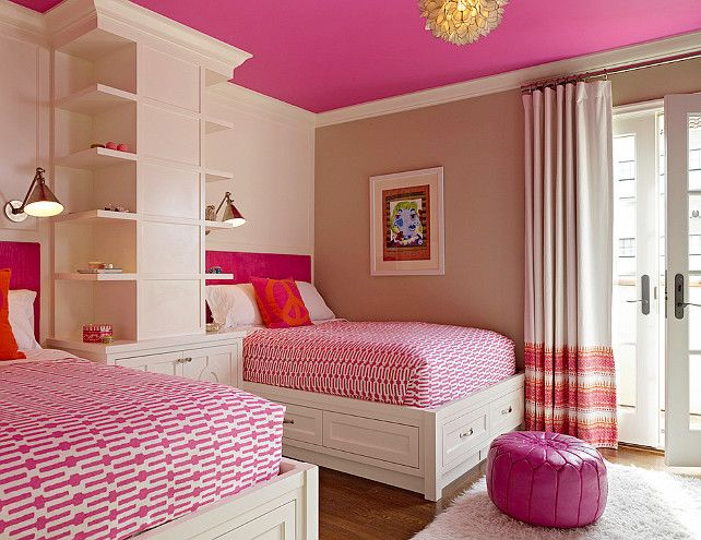 Pink ceiling in girls bedroom