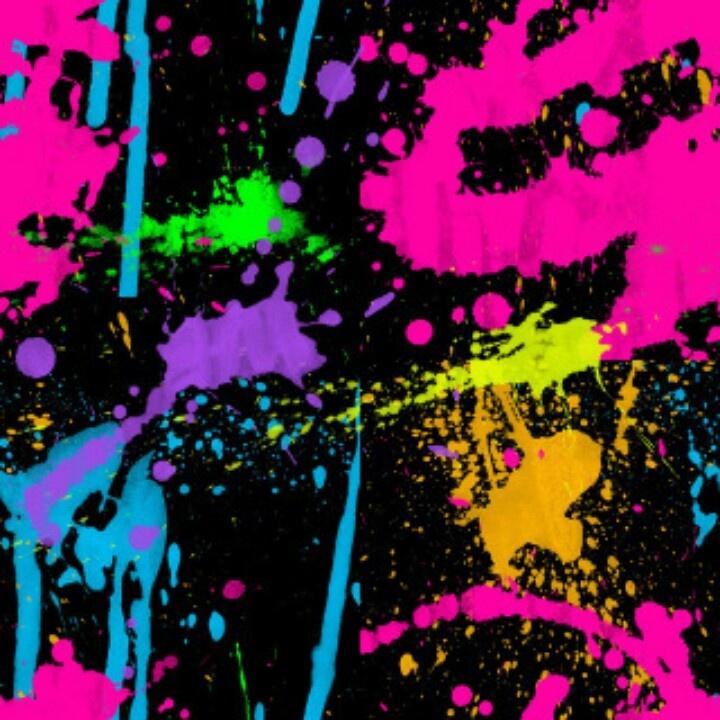 Neon colors and paint splatter) Neon decorations