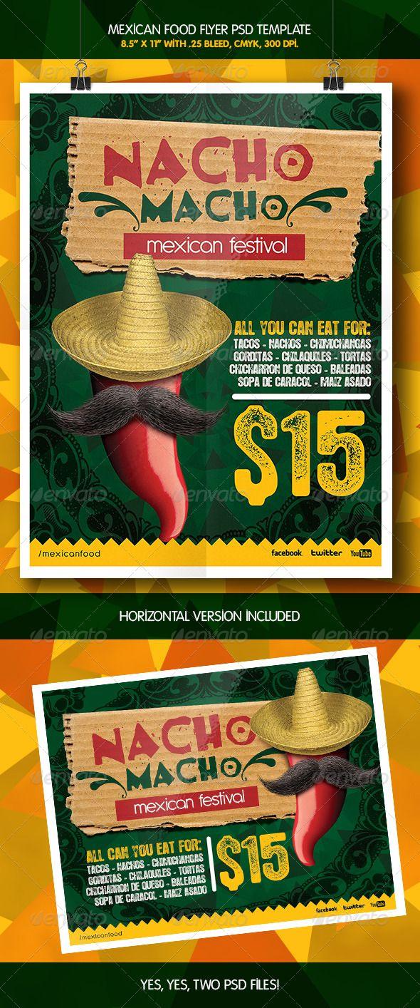 Mexican Macho Nacho Flyer Template Adobe