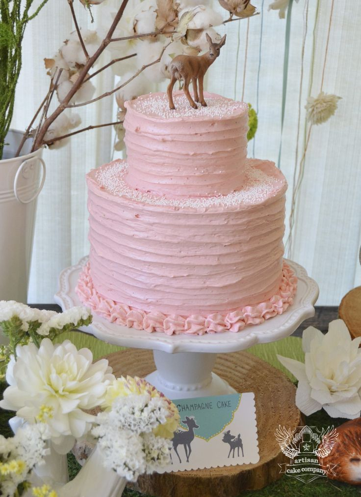 A Simple Pink Cake For A Woodland Themed Birthday Party Or