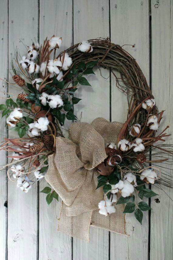 Cotton Stems And Pinecone Wreath Crafty Creativeness