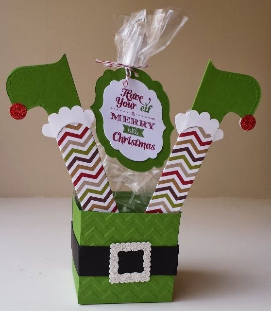"""papermadeprettier: ELF YOURSELF """"Merry Little Christmas"""" elf candy box from Stampin Up and papermadeprettier."""