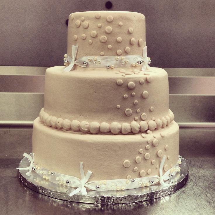 Basic Walmart wedding cake design. 3 tier. Champagne
