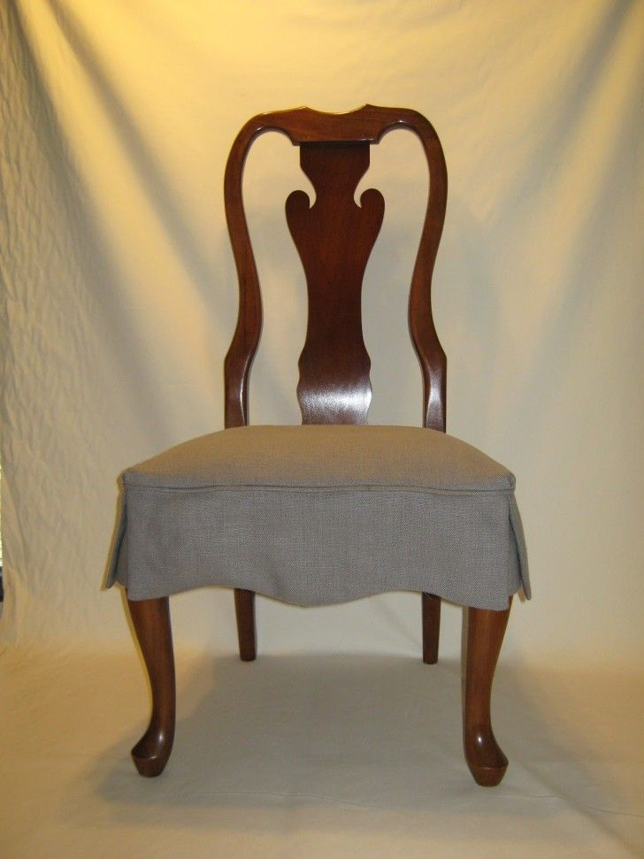 Dining Room Brown Varnished Mahogany Chair With Gray