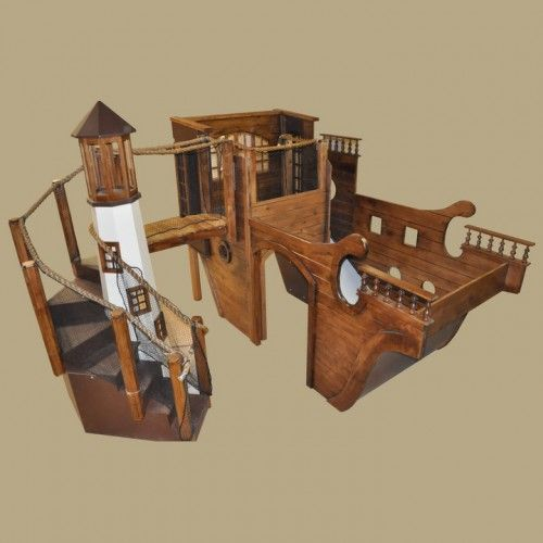 Wooden Pirate Ship Indoor Playhouse W Light House Kids