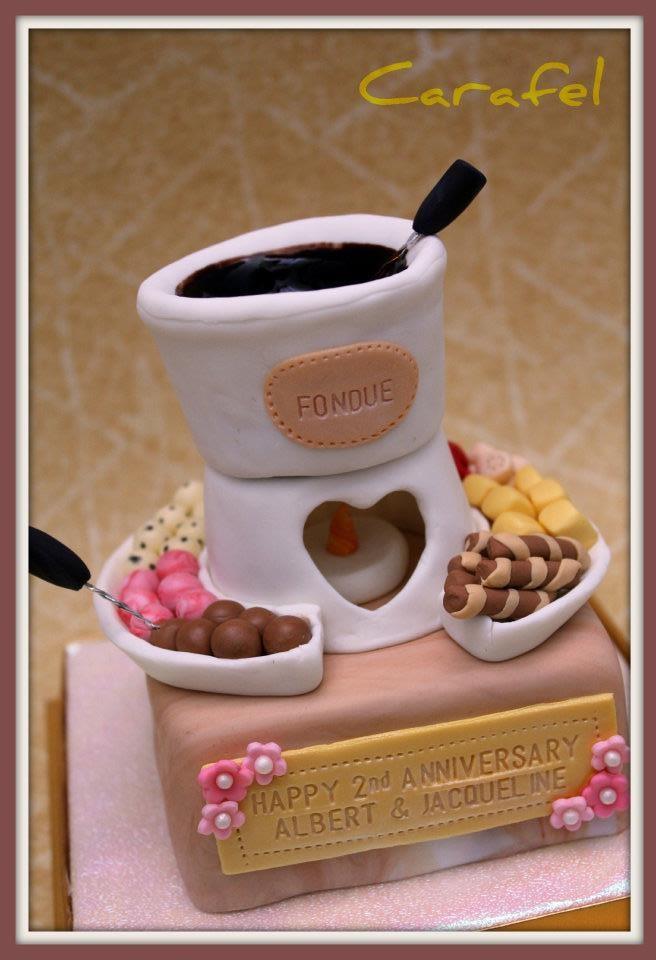 Cute & Fun Anniversary Cake with Fondue decorations