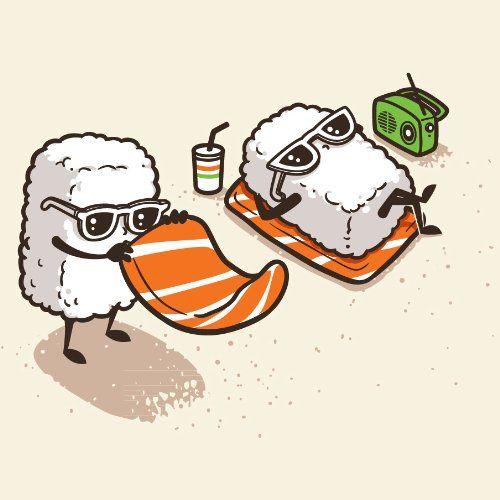 Summer Sushi Funny Cartoon Sushi Sunbathing On Beach