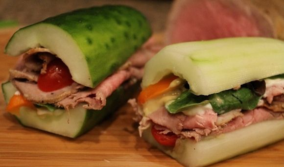 Deli-Style Roast Beef Cucumber Sandwich (from 15 No-Bread Sandwiches)