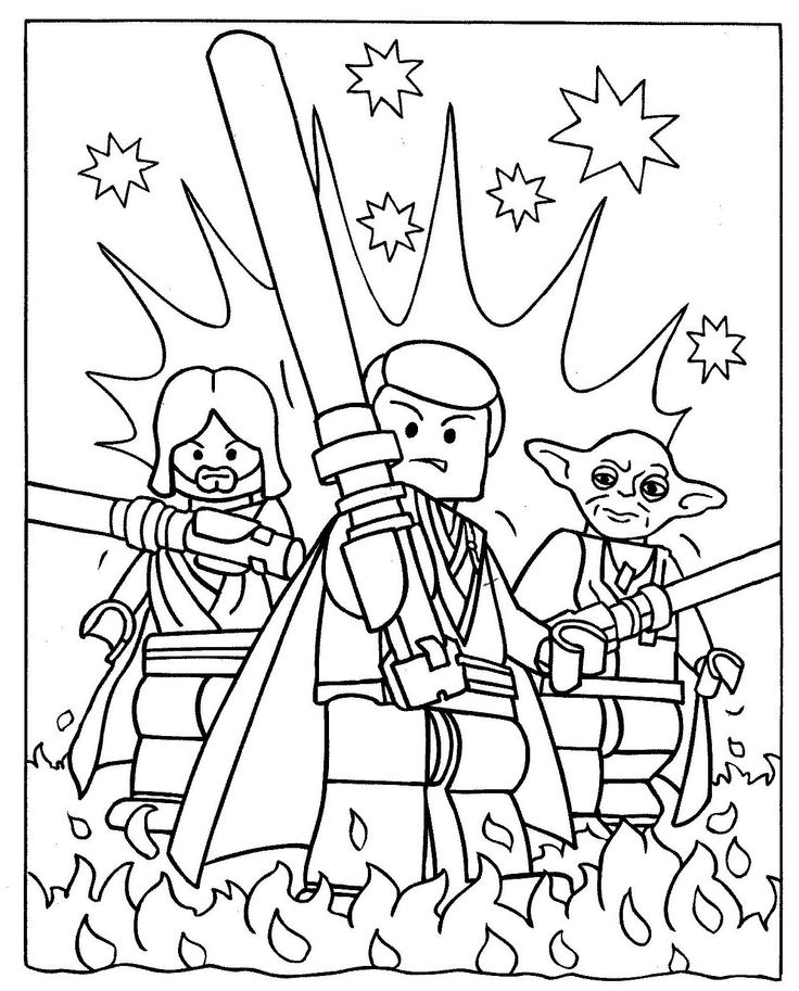 Obi Wan And Luke Skywalker With Yoda Coloring Pages Star