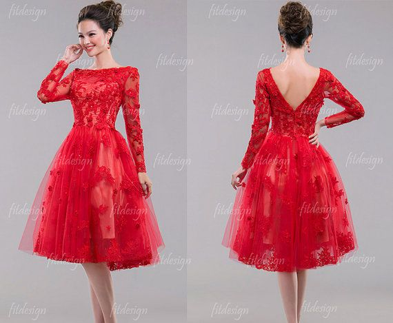 Lace+prom+dress+short+prom+dress+red+prom+dress+by