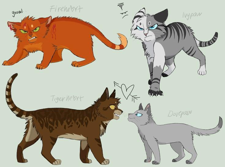 Firestar, Dovewing,Tigerheart,Ivypool Warrior cats