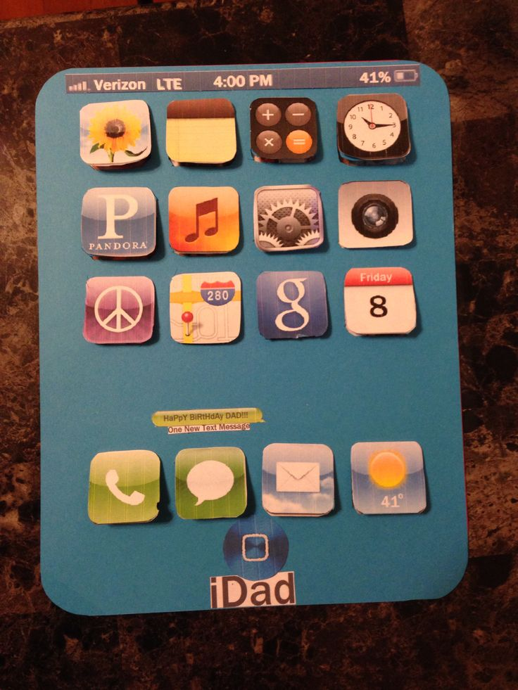 Home made birthday card for dad, the apps open up with
