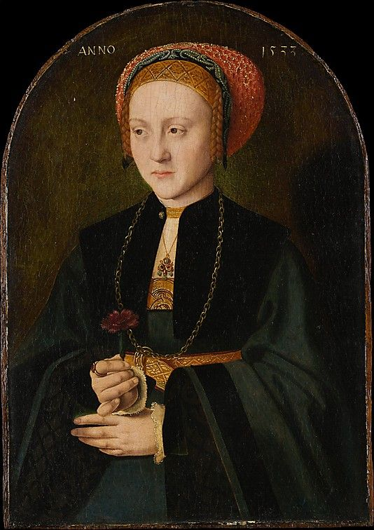 Portrait of a Woman, 1533, Barthel Bruyn the Elder; she holds a carnation, symbol of betrothal. (Metropolitan Museum of Art):