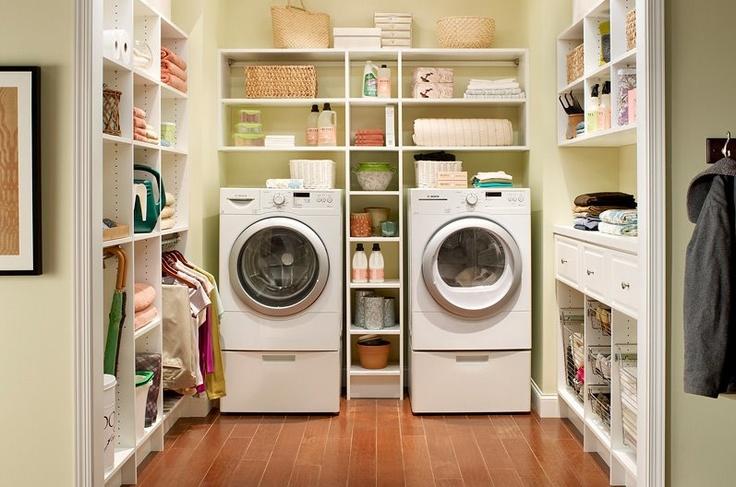 laundry organization :-) I wish my laundry room was this big!