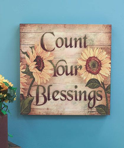 COUNT YOUR BLESSINGS 16 Sunflower Wall Art Wooden Decor