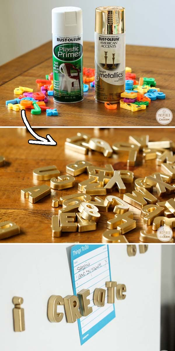 Cover your refrigerator with these classic painted magnetic letters. | 30 Low-Budget Makeovers You Could D