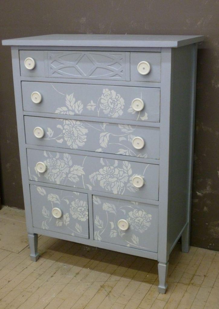 Flower Stencil Dresser Painted Furniture Pinterest