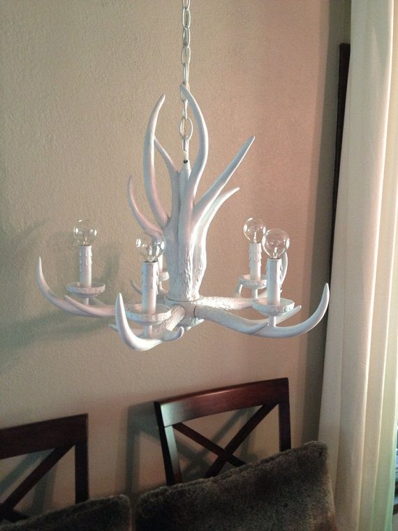White Antler Chandelier Via Etsy