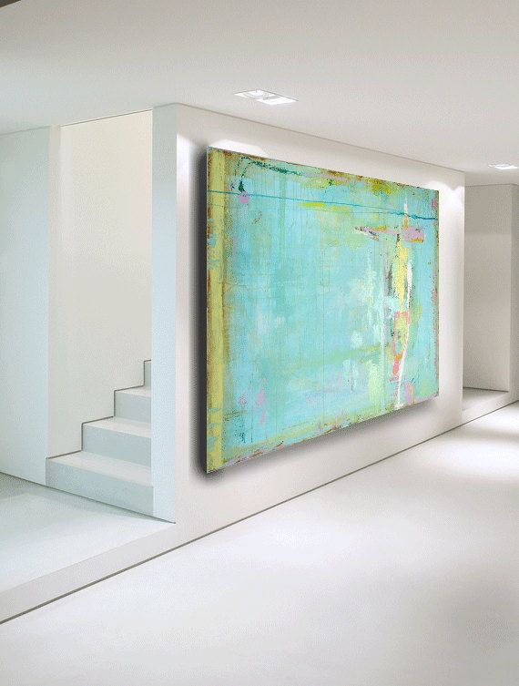 Love, love, love the! ABSTRACT PAINTING Huge Large Blue Green Abstract Painting on Sale acrylic fine art 60 x 40 by Cheryl Wasilow