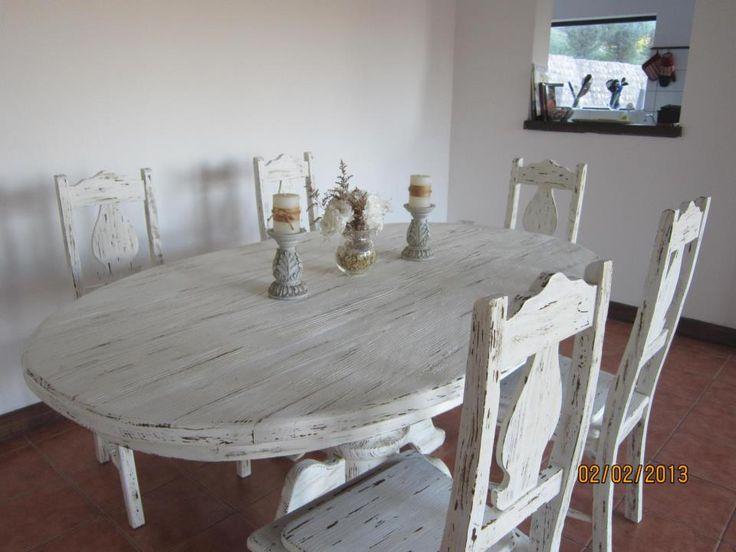 Juego De Comedor Patinado En Blanco Antiguo Creacion Con