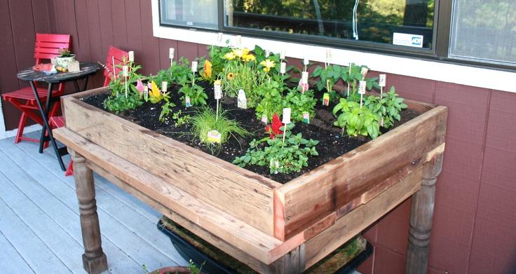 Handmade herb garden box with your favorite herbs