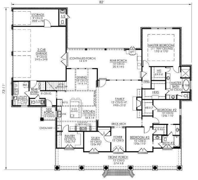 Southern Style House Plans 2674 Square Foot Home 1 Story 4 Bedroom And