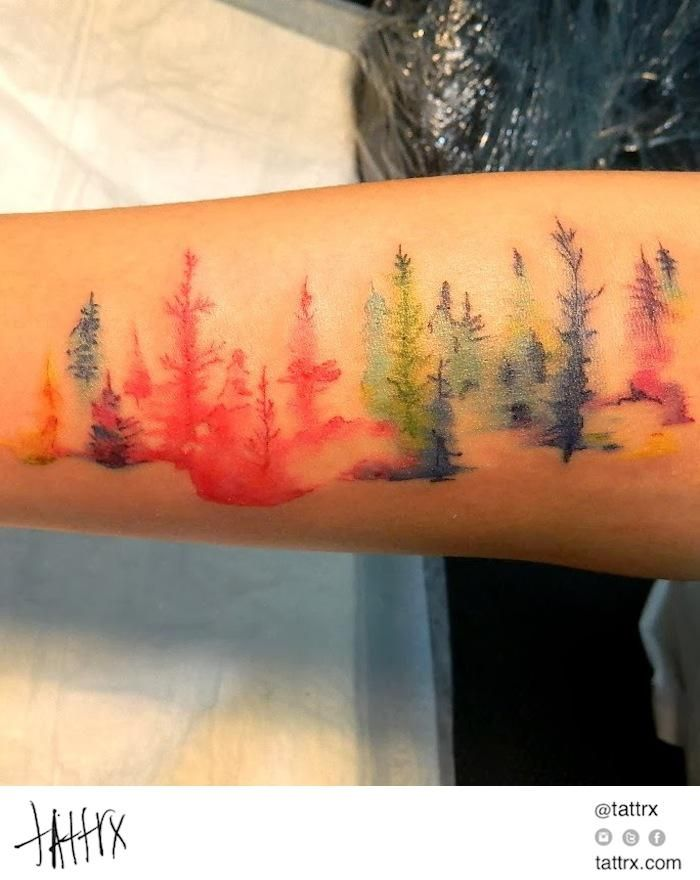 Wiji – Painted Trees. Watercolor and Acrylic Rainbow