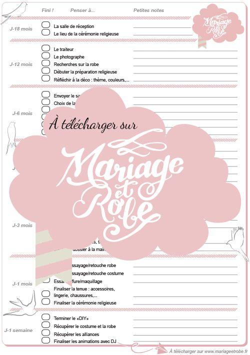 Rtroplanning Mariage Imprimer Prparation Mariage