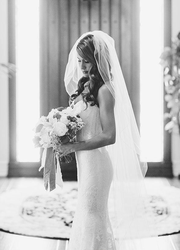 The beautiful bride is getting ready for her big day.