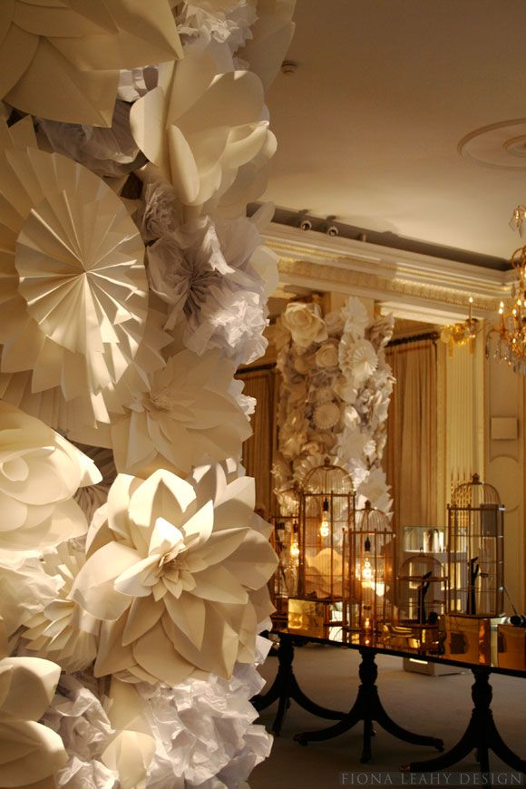 Prom decor. Column with paper covered flowers. (Could be done with make it youse