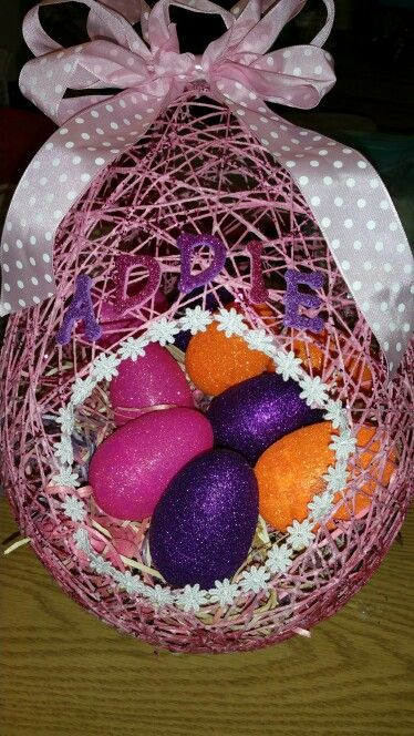 Sugar String Easter Basket With Hand Glittered Easter Eggs