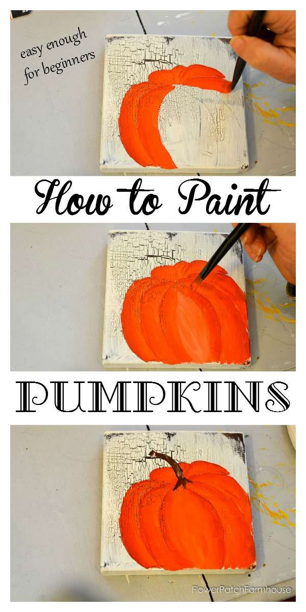 Learn How to Paint Orange Pumpkins, one stroke at a time. Easy and so much fun! Great for Fall decor,
