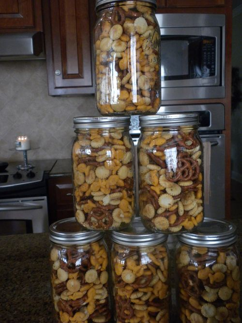 Zesty Snack Mix (Paula Deen Recipe) Two 9oz. packages oyster crackers One 1 lb. package cheese-flavored fish shaped crackers One 1