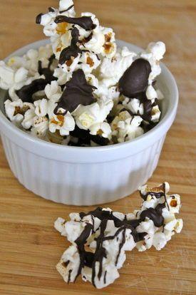 Skinny Moose Munch....100 calorie bag of popcorn and dark chocolate chips!