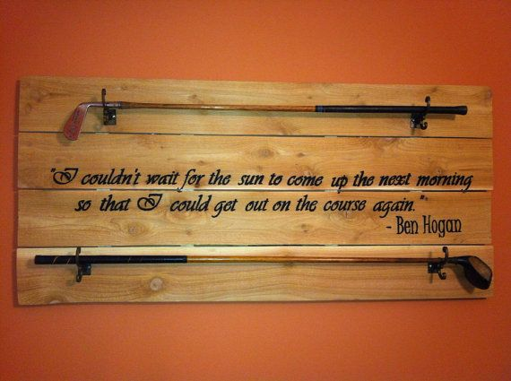 Golf Club Display with Customizable Golf Quote, Golfer Quotes, Valentines Day Gift, Man Cave Decor, Antique Golf Club Rack, Gifts for