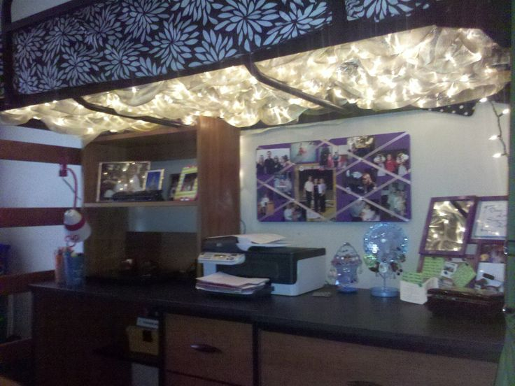 Christmas Lights With Gold Sheer Fabric Under Lofted Bed