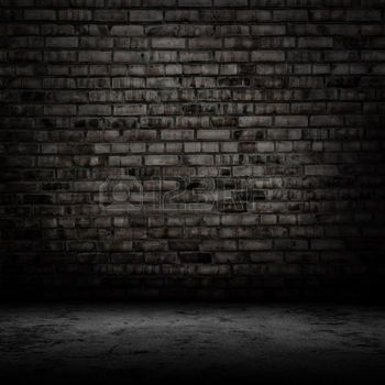 Grunge Dark Room With Tile Floor And Brick Wall