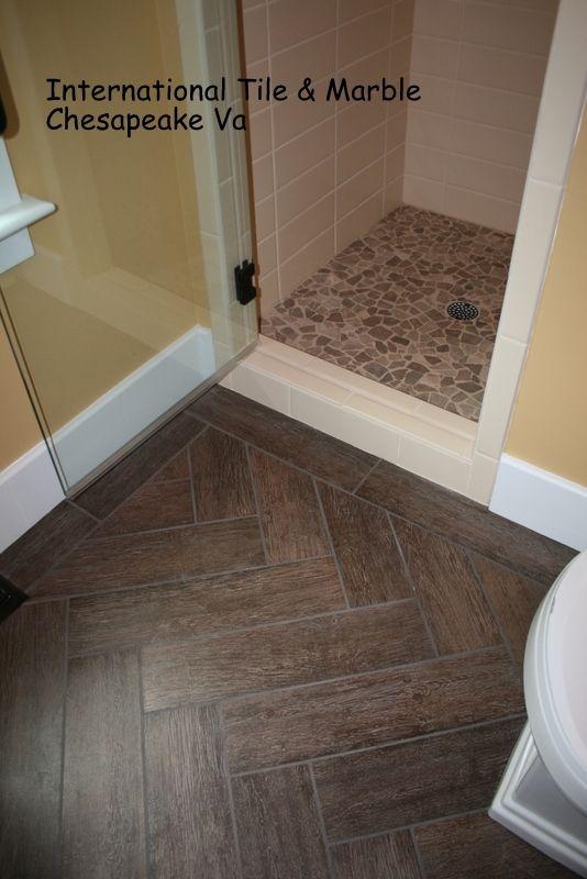 Wood Grain Porcelain Floor Tile Herringbone Layout