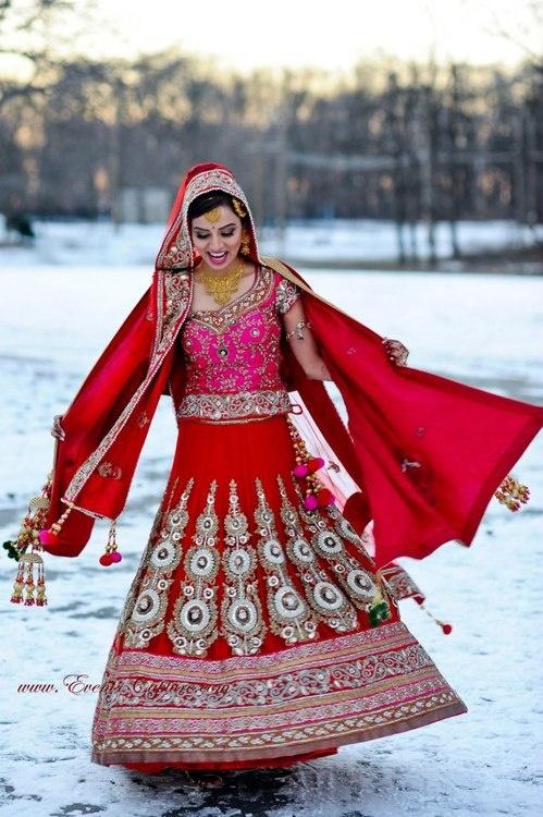 red and pink south asian bridal lehenga, winter wondrous